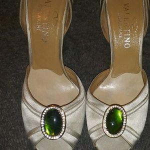 Silver/Taupe Valentino's sz 8 w/Green embellishmen